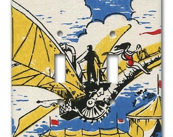 Fantastic Flying Machine 1960's Vintage Wallpaper Double Switch Plate