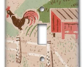 Rooster Switch Plate 1950's Vintage Wallpaper Rooster on the Farm