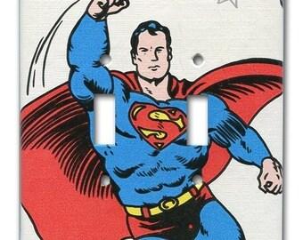 Superman DC Comics 1970's Vintage Wallpaper Double Switch Plate