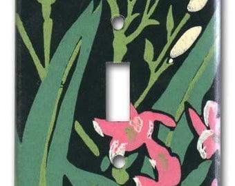 Floral on Black 1950's Vintage Wallpaper Switch Plate