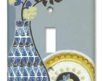 Blue Deco Floral Vase 1940's Vintage Wallpaper Switch Plate