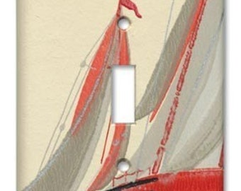 Sail the Seas 1950's Vintage Wallpaper Switch Plate