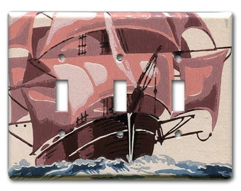 Tall Ship 1950's Vintage Wallpaper Triple Switch Plate