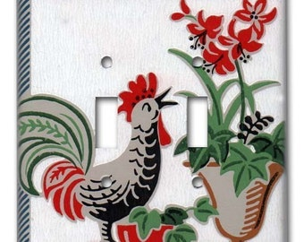 Country Cottage Rooster 1950's Vintage Wallpaper Double Switch Plate