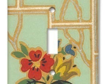 Deco Floral 1930's Vintage Wallpaper Switch Plate