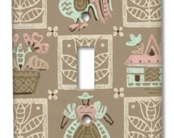 Sweet Folk Country Home Quilt Block Lady and Chicken 1950's Vintage Wallpaper Switch Plate