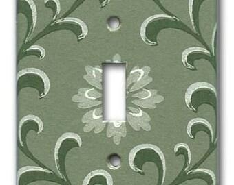 Slate Green Vine 1950's Vintage Wallpaper Switch Plate