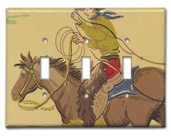 Rough Rider Cowboy 1940's Vintage Wallpaper Triple Switch Plate