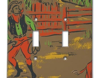 Ranch Hand Cowboy 1940's Vintage Wallpaper Double Switch Plate