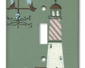 Colonial Port Lighthouse 1950's Vintage Wallpaper Switch Plate