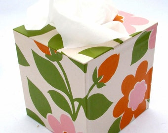 Mod Floral Tissue Box Cover 1960's Vintage Wallpaper