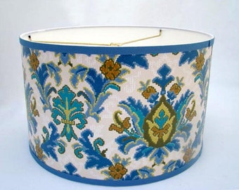 Vintage Wallpaper Drum Shade 1970's  French Damask