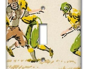 Gridiron Greats 1960's Vintage Wallpaper Switch Plate Green Bay Packers