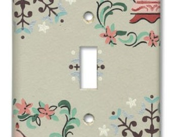 Cozy Country 1950's Vintage Wallpaper Switch Plate