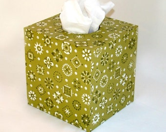 Green Mid Mod Doo-Dads 1960's Vintage Wallpaper Tissue Box Cover