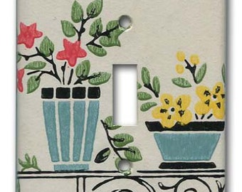 Vase and Urn Floral 1940's Vintage Wallpaper Switch Plate