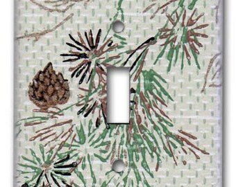 Elegant Pine Floral 1950's Vintage Wallpaper Switch Plate