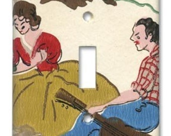 Hillbilly Serenade 1950's Vintage Wallpaper Switch Plate