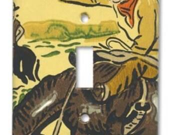 Cowboy Switch Plate 1950's Vintage Wallpaper Bronc Bustin