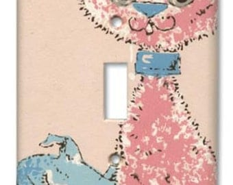 Pink Boo Boo Kitty 1950's Vintage Wallpaper Switch Plate