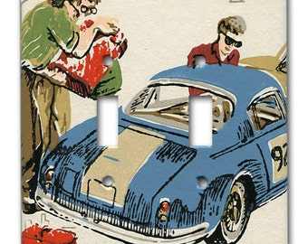 Gear Head Racing 1960's Vintage Wallpaper Double Switch Plate