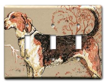 1980's Vintage Wallpaper Triple Switch Plate Fox Hound