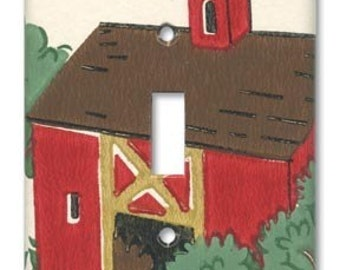 Red Barn Farm 1950's Vintage Wallpaper Switch Plate