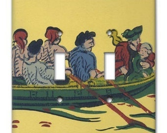 Treasure Island Pirates 1950's Vintage Wallpaper Double Switch Plate