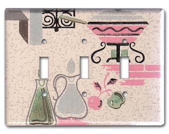 Pink Fondue Pot 1950's Vintage Wallpaper Triple Switch Plate