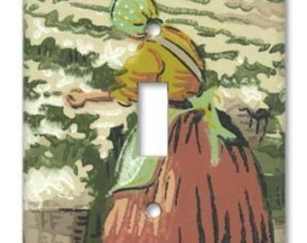 Southern Cotton Fields 1940's Vintage Wallpaper Switch Plate
