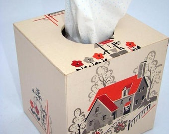 Tissue Box Cover 1940's Vintage Wallpaper Home Sweet Home