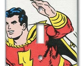 Shazam DC Comics 1970's Vintage Wallpaper Switch Plate