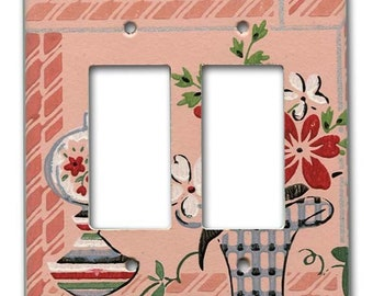 Margie's House 1940's Vintage Wallpaper Double Decora Switch Plate