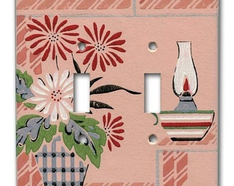 Margie's Pink Passion 1940's Vintage Wallpaper Double Switch Plate