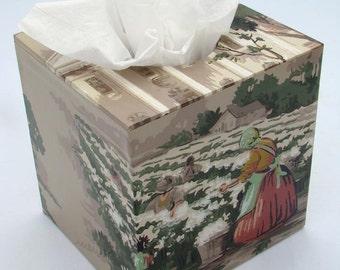 Southern Cotton Plantation 1940's Vintage Wallpaper Tissue Box Cover