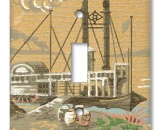 Southern Riverboat 1940's Vintage Wallpaper Switch Plate