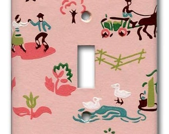 Pink Folksy Charms 1950's Vintage Wallpaper Switch Plate