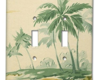 Tropical Island Palm Tree Beach 1950s Vintage Wallpaper Switch Plate