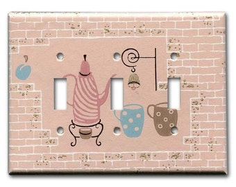 Pink Coffee Kitchen 1950's Vintage Wallpaper Triple Switch Plate