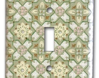 Geometric Green and Pink 1950's Vintage Wallpaper Switch Plate