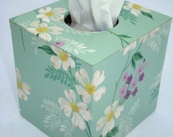 Tissue Box Cover 1950's Vintage Wallpaper Sweet Pansies Floral