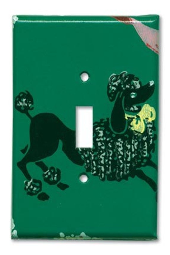 Classic Poodle 1950's Vintage Wallpaper Switch Plate