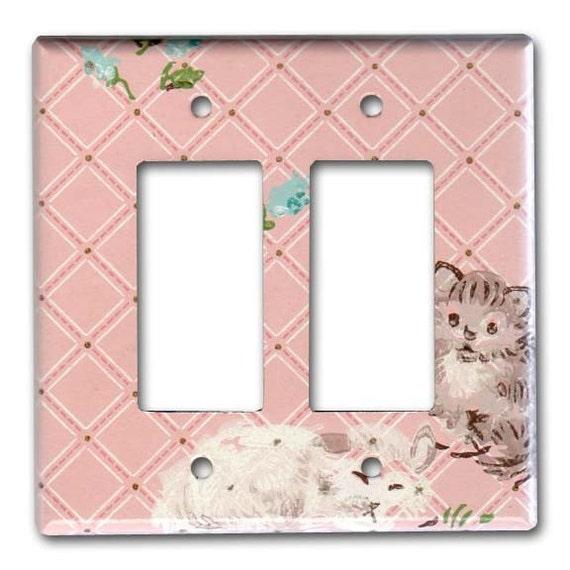 Smitten Kittens 1950's Vintage Wallpaper Double Decora Switch Plate