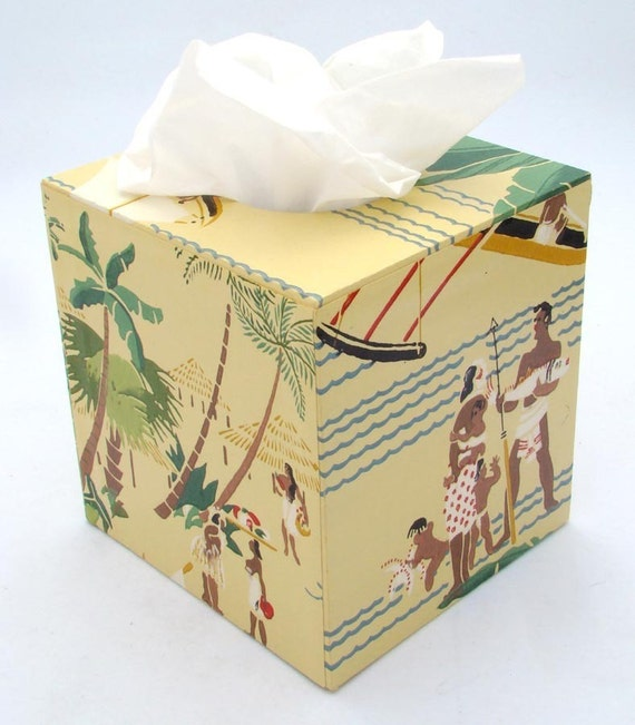 Mid Century Polynesian 1950's Vintage Wallpaper Tissue Box Cover