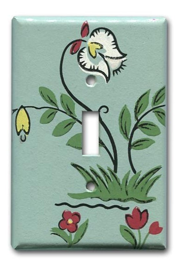 Folksy Dutch Floral 1950's Vintage Wallpaper Switch Plate