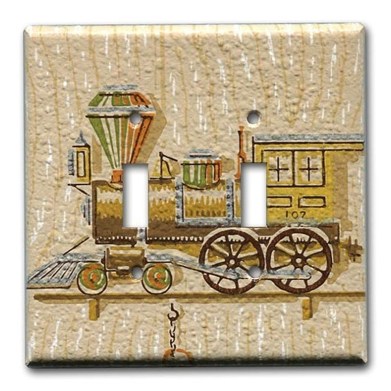 Old Western Train 1950's Vintage Wallpaper Double Switch Plate