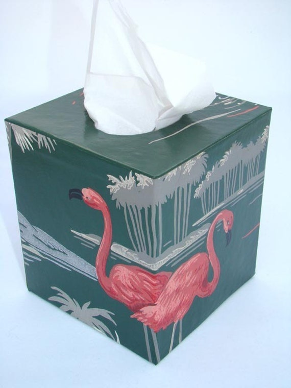 Pink Flamingos 1950 U0026 39 S Vintage Wallpaper Tissue Box Cover