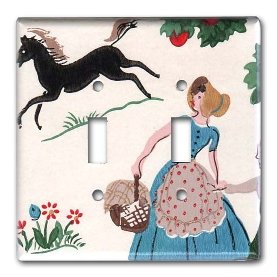 Country PicNic on the Farm 1950's Vintage Wallpaper Double Switch Plate