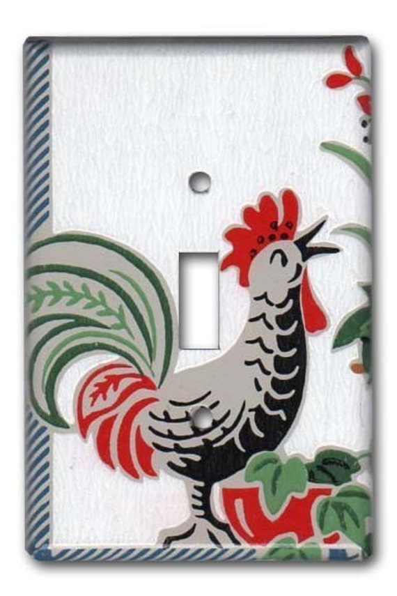 Country Cottage Rooster 1950's Vintage Wallpaper Switch Plate