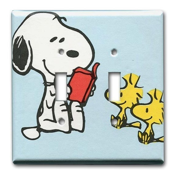 Snoopy and Woodstock Peanuts 1970's Vintage Wallpaper Double Switch Plate